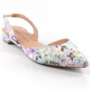 Christian Siriano Floral Sling Back Point Flats